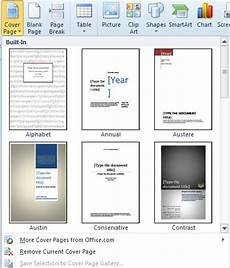 Title Page Template Word 2010 How To Add A Cover Page In Word 2010 Smart Office
