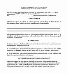Free Subcontractor Agreement Free 15 Sample Subcontractor Agreement Templates In Pdf