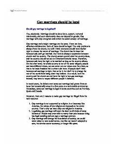Marriage Argument Essay Argumentative Response To Homosexuality And Marriage Essay