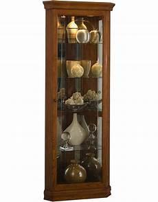 mirrored 4 shelf corner curio cabinet golden oak brown