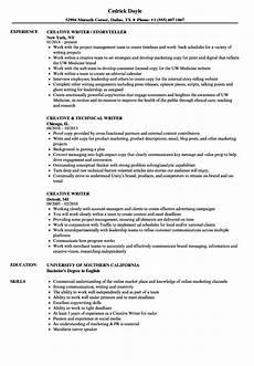 Resumes For Writers Creative Writer Resume Samples Velvet Jobs