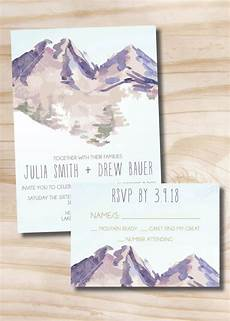 Watercolor Wedding Cards Watercolor Mountain Wedding Invitation Response Card
