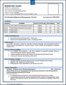 Attractive Resume Format For Freshers Resume Format For Fresher Download Pdf