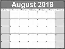 Printable Calendar August August 2018 Calendar 56 Calendar Templates Of 2018