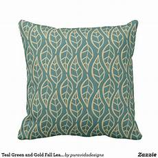 teal green and gold fall leaf pattern throw pillow