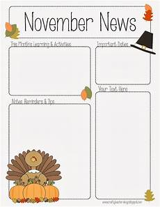 November Template November Newsletter For Preschool Pre K Kindergarten