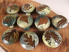 10 ceramic cabinet knobs drawer pulls tree leaves unique in