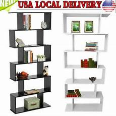Lillyvale Wood Bookcase Bookshelf S Shape 6 Tier Shelves by 6 Tier S Shaped Bookcase Z Shelf Style Storage Display