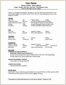Child Actor Resume Format Document Templates Acting Resume Format