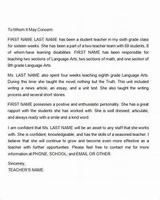 Parent Letter Of Recommendation Free 9 Sample Letters Of Recommendation For A Teacher In