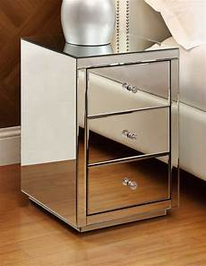 vegas mirrored bedside table chest 3 drawer mirrored