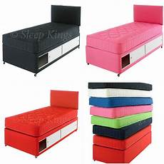 2ft6 3ft single coloured cotton divan bed with