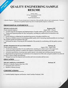 Quality Engineer Sample Resume Quality Engineering Resume Sample Resumecompanion Com
