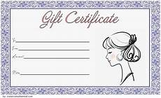 Hair Salon Gift Certificate Template Free Blank Hair Salon Gift Certificate Template Printable 3