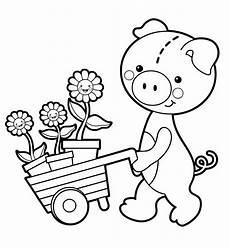 kostenlose malvorlage blumen schweinchen mit blumen
