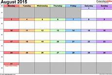 Calendar 2015 August Calendar August 2015 Uk With Excel Word And Pdf Templates