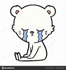desenho urso polar pequeno triste vetores de stock