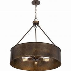 Copper Drum Light Fixture 251 First River Station Weathered Brass Five Light
