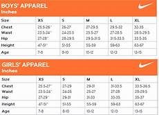 Mens Nike Size Chart Navigation