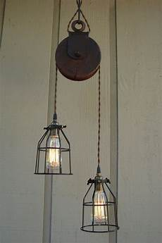 Farmhouse Swag Light Reserved For Diane Upcycled Farm Pulley Lighting Pendant