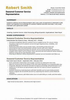 Resume Templates For Customer Service Representatives Seasonal Customer Service Representative Resume Samples