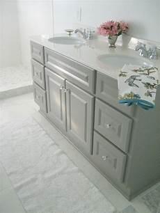 diy custom gray painted bathroom vanity from a builder - Painted Bathroom Vanity Ideas