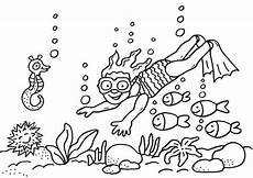 Ausmalbilder Fische Meer Kostenlose Malvorlage Sommer Taucherin Im Meer Ausmalen