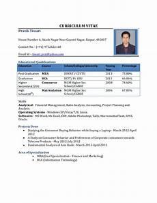 Resume Formats For Freshers Resume Format For Freshers