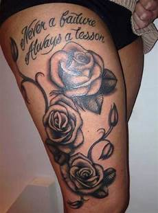 Rose Designs On Leg Image Result For Quote Thigh Design Thigh Tattoos