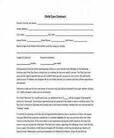 Home Daycare Contracts Samples Free 9 Sample Daycare Contract Forms In Pdf Ms Word