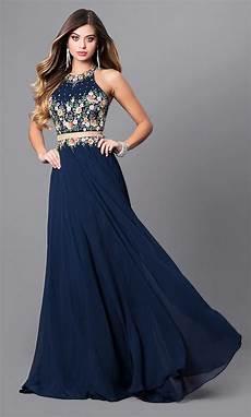 navy blue mock two formal prom dress