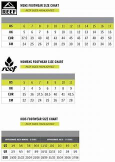 Reef Size Chart Us Sizing Conversion Reef