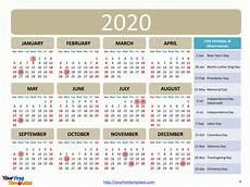 2020 Us Calendar Printable Printable Calendar 2020 Template Free Powerpoint Templates
