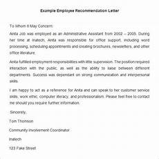 Sample Letter Of Recommendation For Employment 26 Free Employee Recommendation Letters Pdf Doc Free