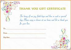 thank you template for gift card special day thank you gift certificate template gift