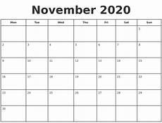 November 2020 Calendar Printable Free November 2020 Print A Calendar