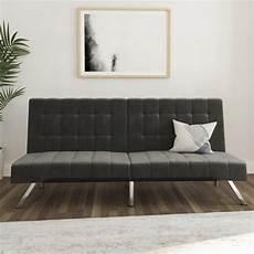 dhp emily convertible tufted futon sofa gray velvet