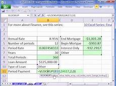 How To Calculate Mortgage Payment In Excel Excel Magic Trick 355 Vlookup For Mortgage Calculator