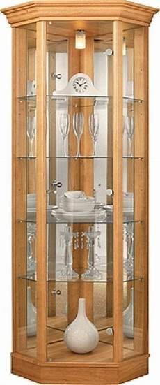 Light Oak Corner Display Cabinet Corner Glass Display Cabinet Light Oak Effect Glass