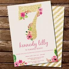 7th Birthday Invitation Card Printable Seventh Birthday Party Invitation For A Girl Gold