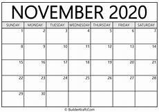 November 2020 Calendar Printable November 2020 Calendar Printable Template Builderkraft