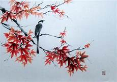 magpie on maple branch japanese ink painting large