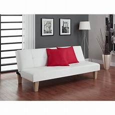 dhp futon sofa bed white faux leather upholstery