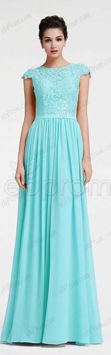 Light Blue Dress Cap Sleeves Light Blue Prom Dresses Long Modest Bridesmaid Dresses Cap