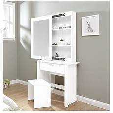 modern dressing table sliding mirror stool white vanity