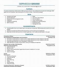 Resume For Correctional Officer Position Correctional Officer Resume Sample Resumes Misc Livecareer