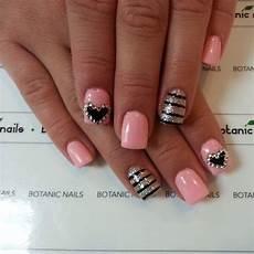 Black White And Pink Nail Designs Pink Black And White Striped And Black And White Heart