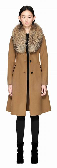 mackage coats for blue fur mackage emalina flared wool coat with fur collar in camel