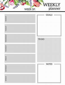 Planner Weekly Template Floral Free Printable Weekly Planner Template Paper