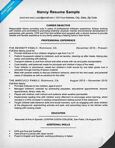 Resume Nanny Sample Nanny Resume Sample Amp Writing Tips Resume Companion